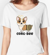 CorgBEE Cute Corgi Bee design for dog lovers - summer, spring, yellow, animal lover Women's Relaxed Fit T-Shirt