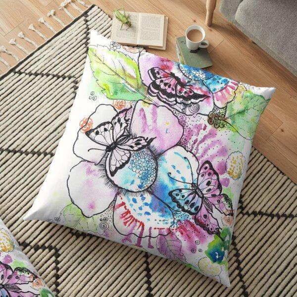 Flowers and butterflies Floor Pillow