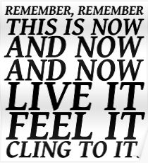 Sylvia Plath quote - be here now Poster