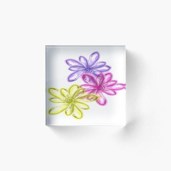 Three Glassy Daisy Design from Green Bee Mee  Acrylic Block