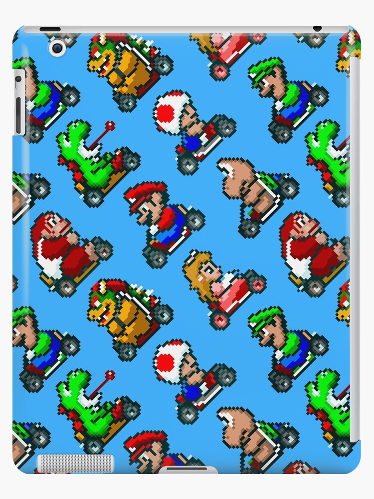 'Super Mario Kart / 8 characters pattern / blue sky' iPad Case/Skin by  geekeeg