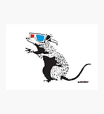 Banksy Rat with 3D glasses cinema red and blue Graffiti Street art with Banksy signature tag Photographic Print