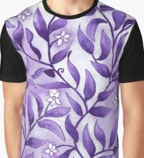 Jasmine and Flowing foliage design in purple Graphic T-Shirt
