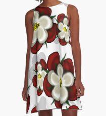 Tudor Roses on White A-Line Dress