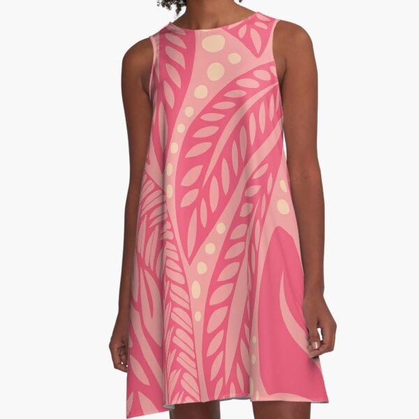 Polynesian Hawaiian pink on pink floral tattoo design A-Line Dress