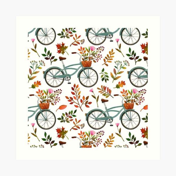 Autumn bike ride on white background Art Print