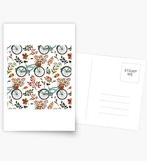 Autumn bike ride on white background Postcards