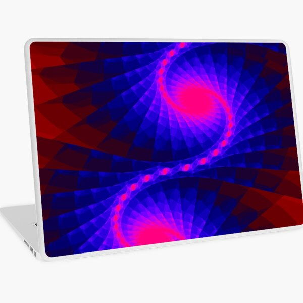 Bold Reds and Blues Fractal Design by Green Bee Mee Laptop Skin