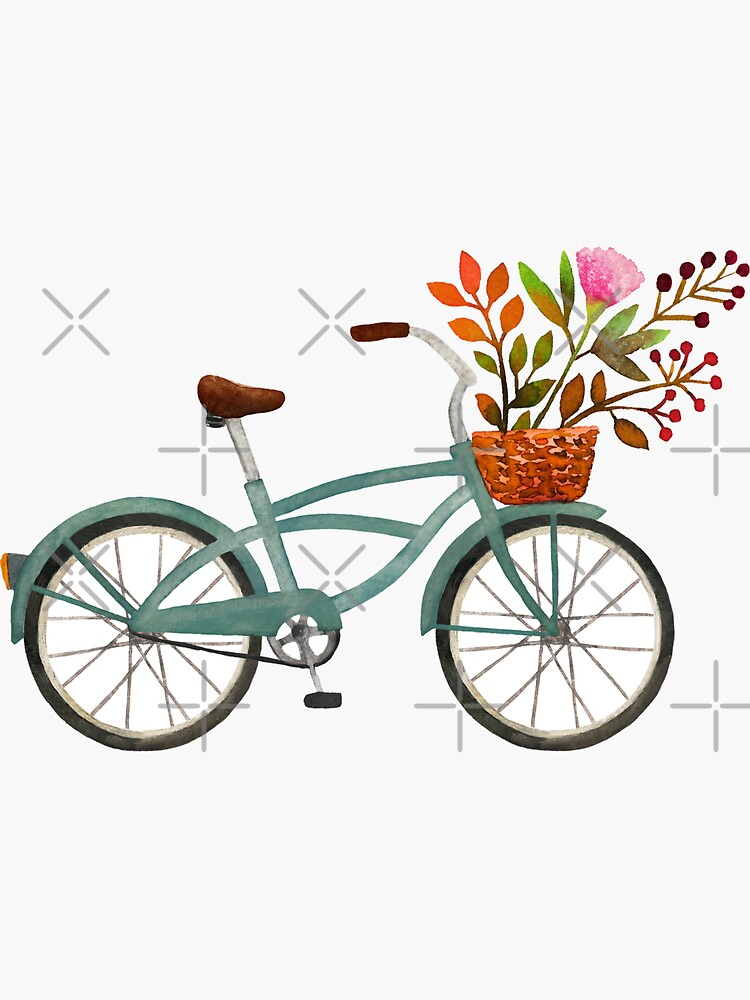Autumn bike ride on white background by MirabellePrint