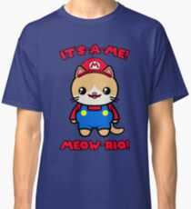 Cute Cat Funny Kawaii Mario Parody Classic T-Shirt