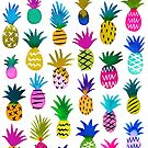 Watercolor pineapples on white  by MirabellePrint