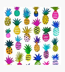 Watercolor pineapples on white  Photographic Print