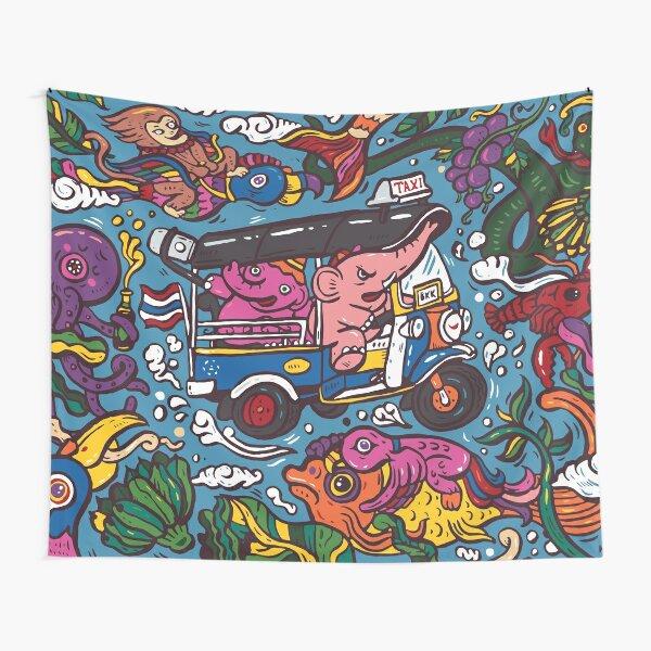 Elephant riding tuktuk Tapestry