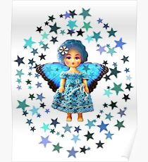 Blue Fairy Doll with stars Poster