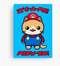 Cat Cute Funny Kawaii Mario Parody Canvas Print