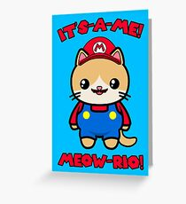 Cat Cute Funny Kawaii Mario Parody Greeting Card