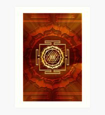 Shri Yantra, Cosmic Energy Conductor, Lotus Flower, Buddhism Art Print