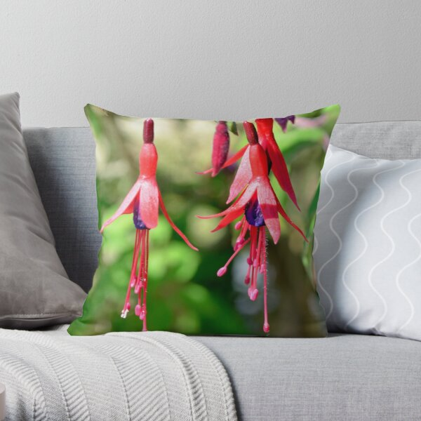 Red and Purple Fuchsia Throw Pillow