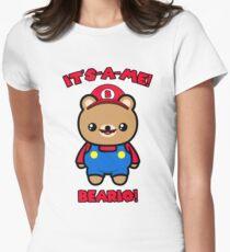 Bear Cute Funny Kawaii Mario Parody Women's Fitted T-Shirt