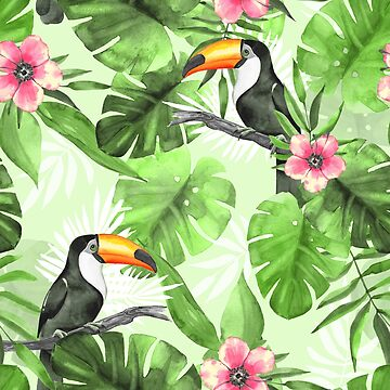 Tropical pattern with toucan by Gribanessa