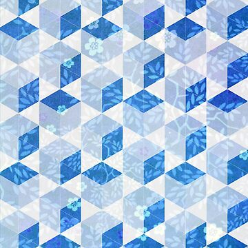 Blue Floral and Geometric Pattern by ILoveTheQuirky