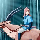 Princess Mononoke - Ashitaka and Yakul by DKSartDesign