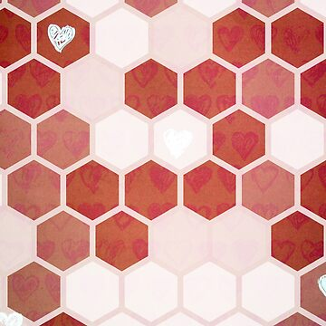Honeycomb Hearts Geometric Pattern by ILoveTheQuirky