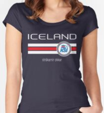 Football - Iceland (Home Blue) Women's Fitted Scoop T-Shirt