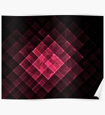 Red geometric fractal with many squares. Poster