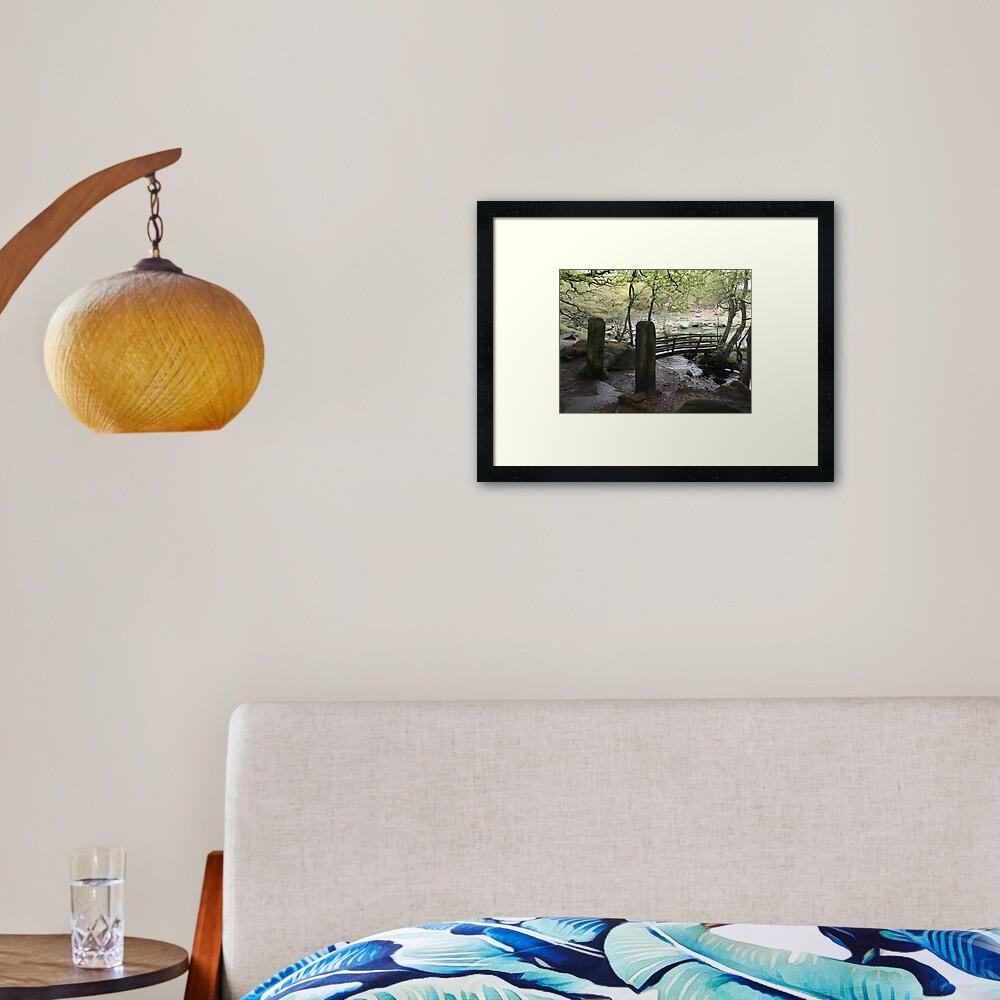 Padley Gorge Bridge Framed Art Print
