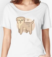 Cute brown puppy with its tongue out Women's Relaxed Fit T-Shirt