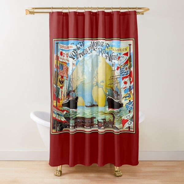 Around The World in 80 Days; Vintage Jules Verne Print Shower Curtain