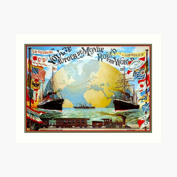 Around The World in 80 Days; Vintage Jules Verne Print Art Print