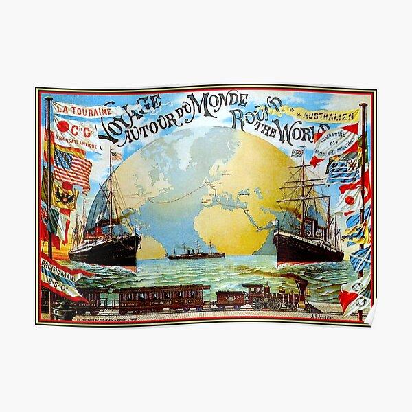 Around The World in 80 Days; Vintage Jules Verne Print Poster