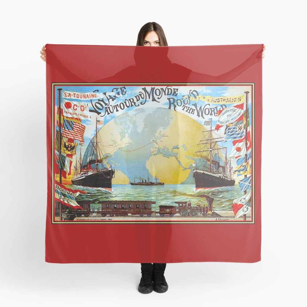 Around The World in 80 Days; Vintage Jules Verne Print Scarf