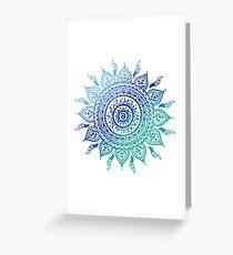 Blue Gradient Mandala  Greeting Card