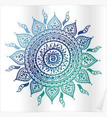 Blue Gradient Mandala  Poster