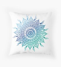 Blue Gradient Mandala  Throw Pillow