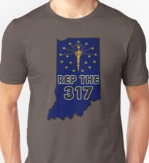 REP THE 317 - POPULAR DISTRESSED DESIGN WITH STATE FLAG AND AREA CODE 317 Unisex T-Shirt