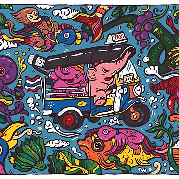 Elephant riding tuktuk by nokhookdesign