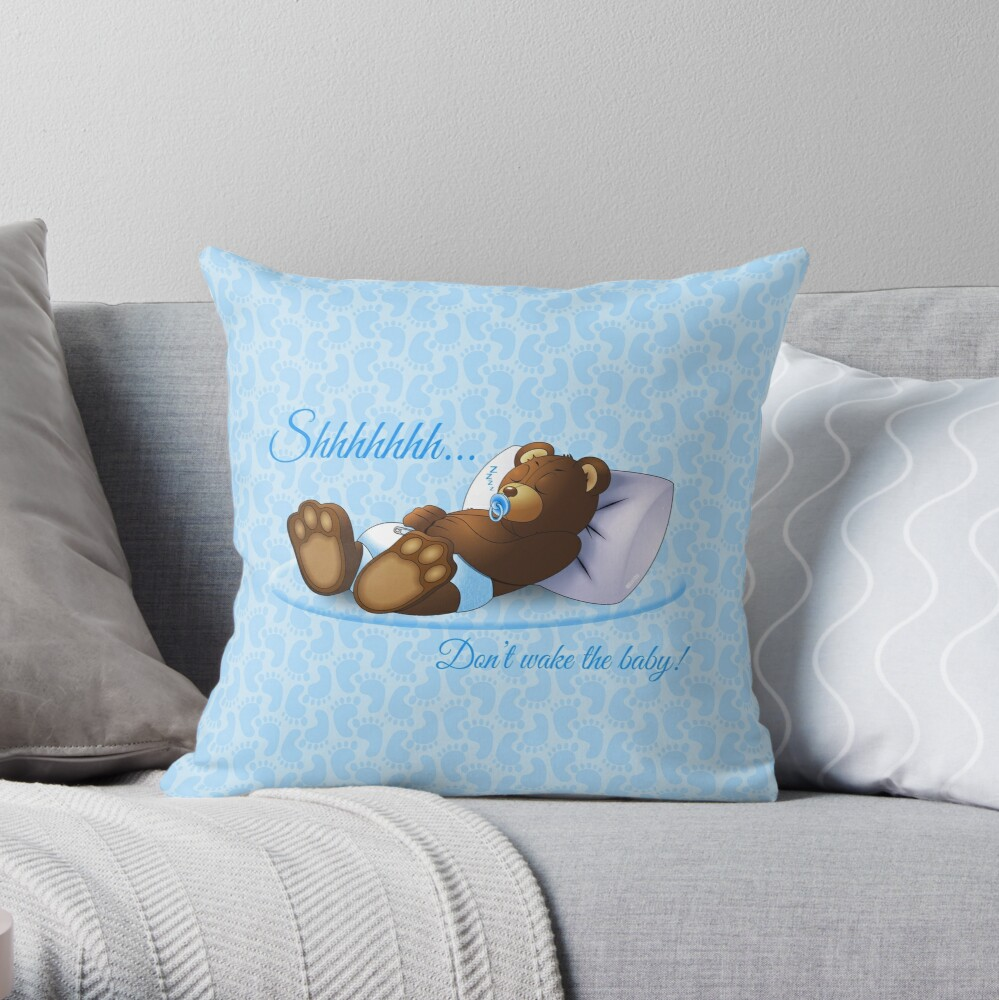 Sleeping Ted - Blue Throw Pillow