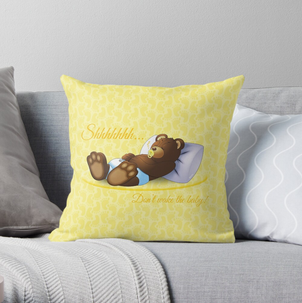 Sleeping Ted - Yellow Throw Pillow