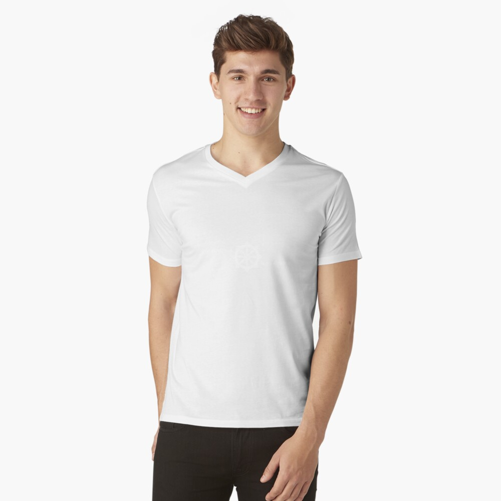 More Dharma. Less Drama. Mens V-Neck T-Shirt Front