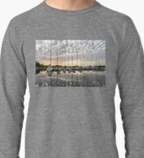 Herringbone Sky Patterns with Yachts and Boats Lightweight Sweatshirt