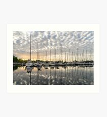 Herringbone Sky Patterns with Yachts and Boats Art Print