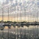 Herringbone Sky Patterns with Yachts and Boats by Georgia Mizuleva