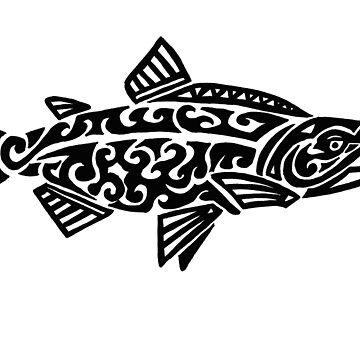Salmon Tribal Design  by KitayamaDesigns