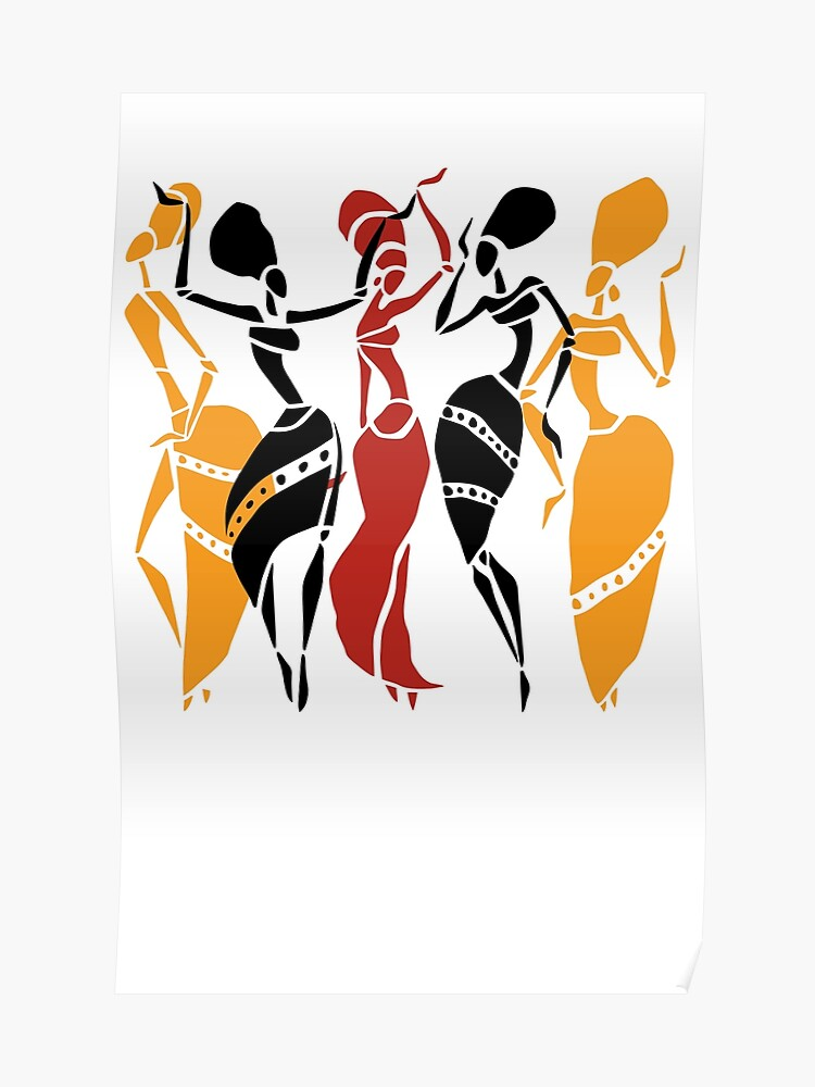 African dancers silhouette | Poster