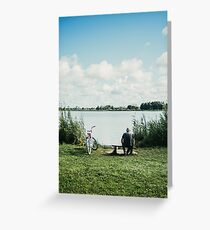Lonely Fisher At Tranquil Lake Greeting Card