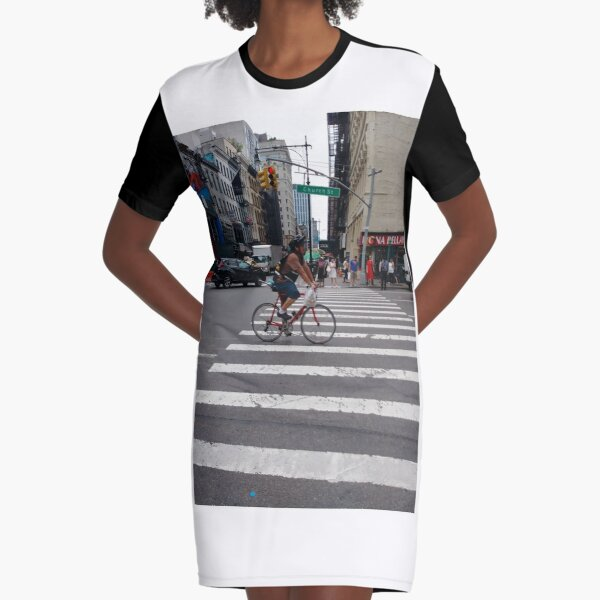 Zebra crossing, New York City, Manhattan, Brooklyn, New York, streets, buildings, pedestrians, #NewYorkCity, #Manhattan, #Brooklyn, #NewYork, #streets, #buildings, #skyscrapers, #cars, #pedestrians Graphic T-Shirt Dress